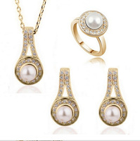 2014 NEW Arrive Fashion High-end 18K gold Plated Crystal&Pearl Bride Jewelry Sets as Christmas&Wedding&Party gift for her