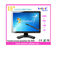 touch panel ! 15 inch  hdmi lcd monitor with  HDMI+VGA+ USB Touch for computer/ pos/industrial