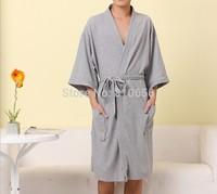 Free Shipping 2014  New Winter Men and women 100% Soft Cotton Waffle Bathrobes Home Cotton  pijamas