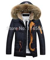 Hooded men in long down jacket coat wholesale     Free shipping