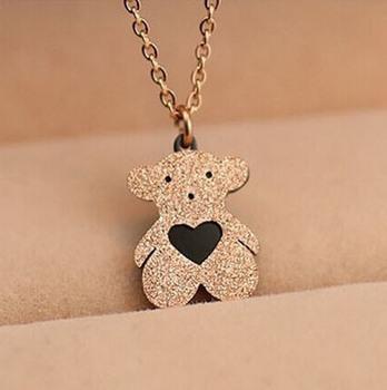 Плюшевый медвежонок ожерелье матовый медведь ожерелья титана стали ювелирные изделия любовь эпоксидной TN36 роуз
