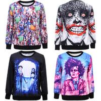 2014 New Fashion Women hoody skull bloody Cartoon Zombie print Black sweatershirt sport suit 11007C. Punk Pullover casual