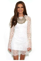 woman dresses autumn 2014 sexy Spaghetti Straps Short mini sundress with White Long Sleeve cute Lace Surcoat dress party