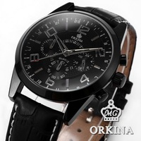 Orkina Business 24 Hours Display Stopwatch Display Stainless Steel Black Dial Leather Strap Analog Men Wrist Quartz Watch/ORK069