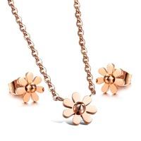 OPK 316L Brand Stainless Steel Jewelry Set, Daisy Design Women Men Jewelry ,Enamel Jewelry Silver Design Necklace + Earring Set