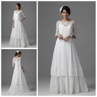 Fascinating A-Line Wedding Dress Bridal Gown Organza Lace Fabric Chapel Train Three Quarter Sleeves Wedding Gown