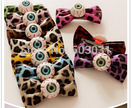 20pcs 2014 HOT punk Japanese Harajuku leopard eyeball hair bow leather hair bow hair clips girls holiday hair bow Christmas Gift(China (Mainland))