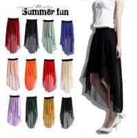 DropShipping 2014 New Sexy women Asymmetrical Hem  Chiffon Skirt Ladies Long Maxi Skirt Elastic Waist