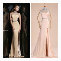 2015 new sexy sheath open back floor length gown chic sheer illusion high neckline with bodice beaded crystal Prom Dresses