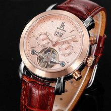 Cuero genuino hombres de pulsera reloj automático relojes de hombre 2014 100 M impermeable de la alta calidad 3 colores liberan el envío