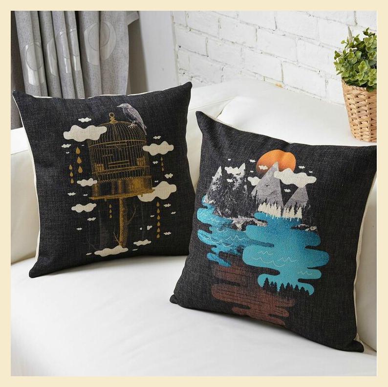 Retro fronha dos desenhos animados capa de almofada criativa decoração 43 x 43 cm animal ave impresso fronha presentes de natal C1226(China (Mainland))