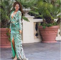 014 fashion girl leopard female long sleeve clothes sexy deep V SDN-083 bandage long bodycon dress frozen dress elsa dress
