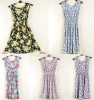 2014 summer vivi rustic sleeveless tank dress high waist one-piece dress
