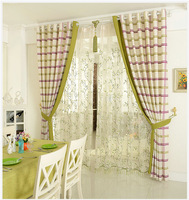 Linen&Cotton Curtains For Living Room/Tulle+Blackout Curtain 150*250cm Simple Check  Eco-friendly Natural Healthy Free shipping