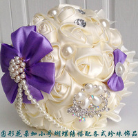 Elegant Pearl crystal rhinestone Silk Roses flower Bride Bridal Wedding Bouquets with colorful bow amazing holding flowers