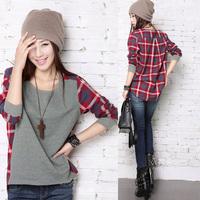 O-neck Long Sleeve T Shirt Women 2014 New Winter Fashion Brand Women Clothing Plaid Bottoming Plus Size Loose Blouse Sweater HOT