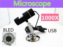 Бесплатная доставка 1000X USB цифровой микроскоп 8-LED эндоскопа с программным обеспечением измерения 1000X
