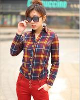 2014 New Fashion Women Tops Casual Blouse Turn down Collar Long Sleeve Plaids Print Pattern Flannel Shirt