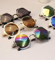 I-bright Korean Fashion Brand Design Men/women Retro Metal Frame Round Hexagon Sunglasses Personalized Reflective Mirror