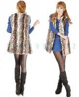 New Womens Leopard Fashion V-neck Long Design Faux Fur Vest Sleeveless GILET Outwear
