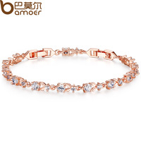 Bamoer Luxury 18K Rose Gold Plated Chain Bracelet for Women Ladies Shining AAA Cubic Zircon Crystal Jewelry Wedding JIB013