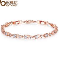 Bamoer Luxury 18K Rose Gold Plated Chain Bracelet for Women Ladies Shining AAA Cubic Zircon Crystal Jewelry Wedding JIB013