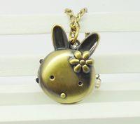 2014 Hot sale bronze unique bunny rabbit pocket cartoon clock pendant with long chain for children