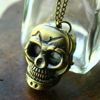 Pendant Watch Necklace Skull Cool Mens West Style Stylish Quartz Analog Wholesale Free Shipping
