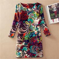 New Hot Autumn Winter Plus Size Casual Long Sleeve Women Dresses Fashion Floral Printing Ladies Slim Dress Vestidos 30141