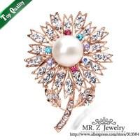 Fashion Rhinestone Pearl Flower Brooch Christmas Pins 5pcs/lot Free Shipping