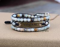 Flower Amazonite with Antique Letter Charm 3 Strands Handmade Wax Cord Wrap Bracelet Multi Layered Vintage Beads Bracelet