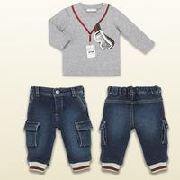 Wholesale  Brand  fashion  spring/autumn  children's  suit  blouse+pants  O-Neck  print  pattern  boy's  suit  free  shipping