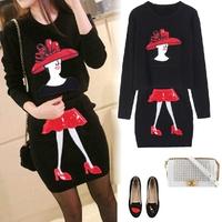 2014 Set fashion ladies small female knitted set dress 2 piece set sweater casual dress vestidos