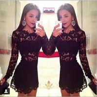 Hot 014 new hollow slim slim sexy lace collar lace dress mini bodycon dress frozen dress elsa dress