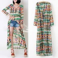Casual Women Multi-Color Dip Dye Floral Shirred Waist Chiffon Long Cardigan Shirt Blouse Maxi Dress 3 Sizes 13864