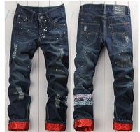 Hiphop hip-hop hiphop jeans for cl ot the trend of male straight hole loose trousers