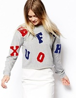 2014 Autumn Women Fashion Letter Long Sleeve Pullover Hoodies Coats,Ladies O-Neck Casual Loose Short Grey Sweatershirts wy19