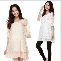 (Send corsage) Free Shipping New 2014 Fashion Pregnant Women Dress Loose Plus Size O-Neck Three Quarter Sleeve Sweet Dress 1058