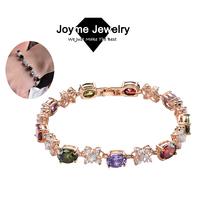 Joyme 2014 new Top Quality Luxury Round Big Gem Stone Swiss Crystal Bracelets for women Wedding Jewelry Bracelet & Bangle BR0016