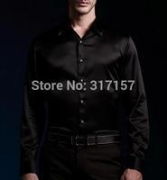 2014 new style  100% real silk Casual shirt men's shirt /luxury  shirts full sleeve plain black
