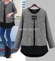 2014 Autumn New Women Casual Fashion Long Sleeve Asymmetrical Faux Two Pieces Blouses & Shorts Tops M/L/XL/2XL/3XL/4XL Plus Size