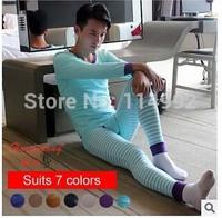 2014 New Striped Men's Cotton thermal underwear / clothes + trousers / men's long johns / men's winter Autumn underwear