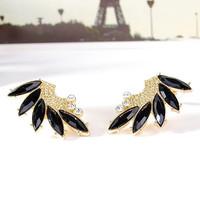 Cute Angel Wings Stud Earrings Fashion Black Acrylic Rhinestone Zinc Alloy Earring For Women Ladies Girls Wholesale NC-J7