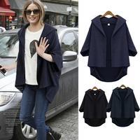 Fashion 2014 Half Batwing Sleeve Blends Open Stitch Winter Jacket Women Plus Size Elegant Loose Winter Women Coat