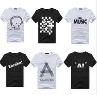 2014New  Individuality Men Short Sleeve T-shirt  O-Neck Black Summer Shirt  Cotton Blend Tops Tees Casual Slim Print  M026