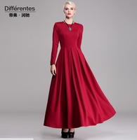 2014 New fashion long dress women's thick basic dress plus size female O-neck long sleeve autumn and winter red dress