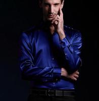 2014 new style  100% real silk Casual shirt men's shirt /luxury  shirts full sleeve plain blue/ wedding shirt