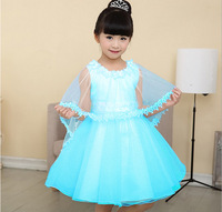 2015 Summer Kids Girls Dress Children Clothing Princess Anna Elsa Costume Flower Girl Dresses For Wedding Party CW-20