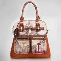 2015 new women messenger bag vintage oil painting bags fashion women shoulder bag women handbag PU women leather bag tote
