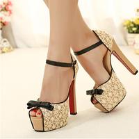 12cm heel bow open toe Women's pumps, blackand apricot color platform high-heels, thick heel red bottom sandals, sex zapatas
